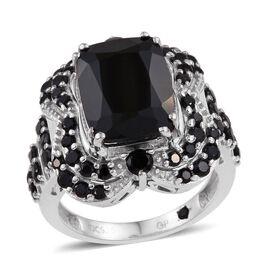 GP Boi Ploi Black Spinel (Cush 9.00 Ct), Kanchanaburi Blue Sapphire Ring in Platinum Overlay Sterling Silver 9.750 Ct.