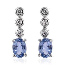 ILIANA 18K White Gold AAA Ceylon Blue Sapphire (Ovl), Diamond (SI/G-H) Earrings (with Screw Back) 1.250 Ct.