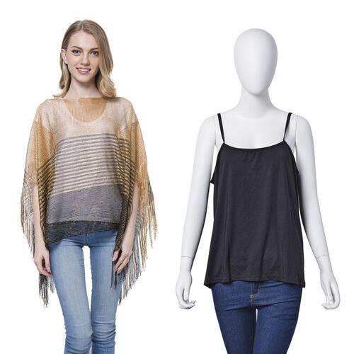Golden Colour Stripe Pattern Poncho (Size 90x55 Cm) and Black Colour Vest (Size 60x55 Cm)