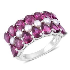 Rhodolite Garnet (Pear), Fresh Water Pearl Ring in Rhodium Plated Sterling Silver 7.400 Ct.