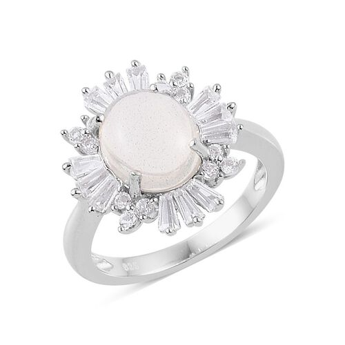 Ethiopian Welo Opal (Ovl 1.50 Ct), White Topaz Ring in Platinum Overlay Sterling Silver 2.500 Ct.