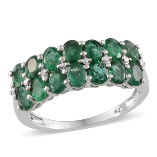 Kagem Zambian Emerald (Ovl), Diamond Ring in Platinum Overlay Sterling Silver 2.010 Ct.