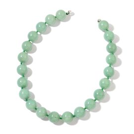 Rare Size Green Aventurine Necklace (Size 20) with Magnetic Clasp in Rhodium Plated Sterling Silver 1218.000 Ct.