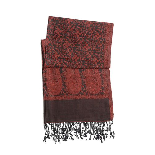 100% Superfine Silk Red Colour Paisley and Floral Pattern Jacquard Jamawar Shawl with Fringes (Size 180x70 Cm) (Weight 125 -140 Grams)