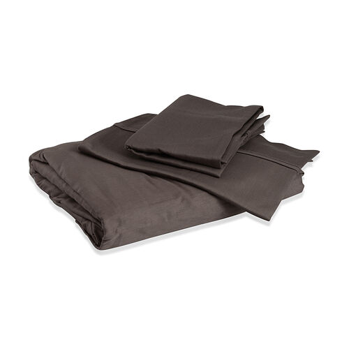 100% Cotton Chocolate Colour Double Fitted Sheet (Size 190x135 Cm) and Two Pillow Cases (Size 75x50 Cm)