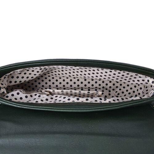 Horsebit Embellished Olive Green Colour Crossbody Bag with Adjustable Shoulder Strap (Size 23X16X5.5 Cm)