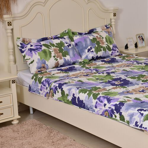 Blue, Green and Multi Colour Floral Pattern Microfiber Reversible Duvet Cover (Size 200X200 Cm), Fitted Sheet (Size 200X150 Cm) and 2 Pillow Shams (Size 70X50 Cm)