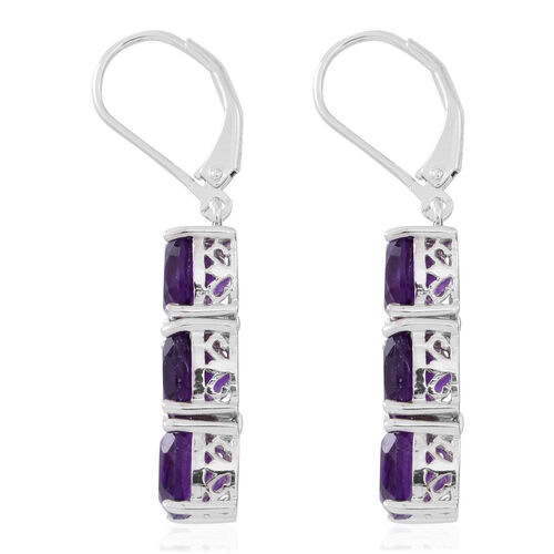 Limited Edition- Lusaka Amethyst (Cush) Lever Back Dangling Earrings in Rhodium Plated Sterling Silver 7.500 Ct.