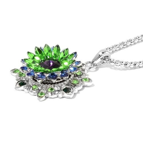 Green Austrian Crystal, Magic Colour Austrian Crystal and Simulated Multi Gemstone Pendant With Chain (Size 32 with 3 inch Extender) with 3 Interchangeable Floral Charms in Silver Tone