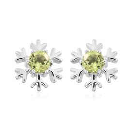 Hebei Peridot (Rnd) 1 Carat Snowflake Silver Stud Earrings in Platinum Overlay (with Push Back)
