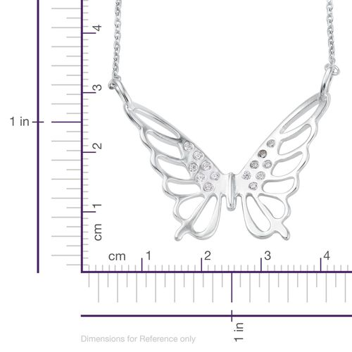 J Francis - Platinum Overlay Sterling Silver (Rnd) Butterfly Necklace (Size 18) Made with SWAROVSKI ZIRCONIA