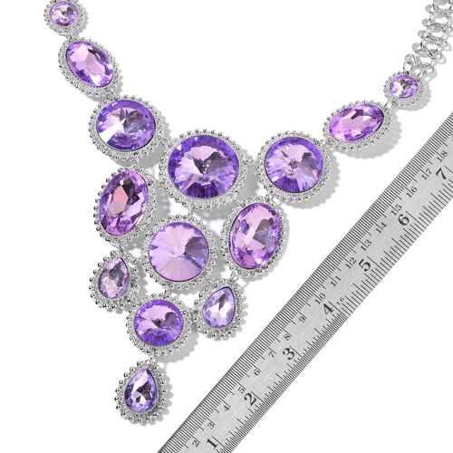 Simulated Amethyst BIB Necklace (Size 22 with 2 inch Extender) in Silver Tone