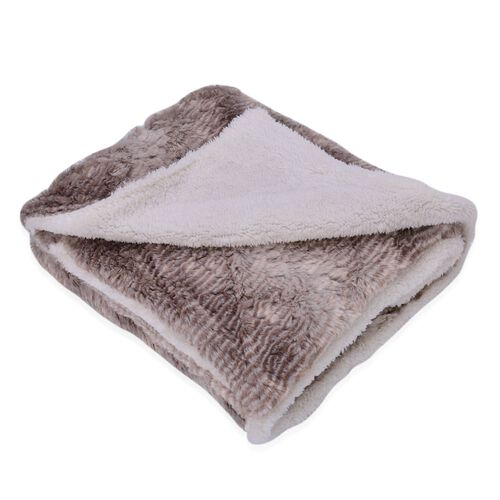 Superfine Microfibre Luxury Faux Fur reversible Sherpa Blanket (Size 200x150 Cm) Grey Owl