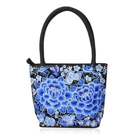 Shanghai Collection Blue Colour Floral Embroidered Tote Bag (Size 23X21X7.5 Cm)