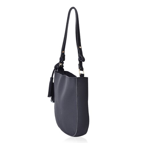 Classic Black Colour Shoulder Bag with Tassels (Size 29x27x6 Cm)
