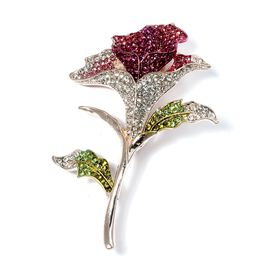 Designer Inspired - AAA Multi Color Austrian Crystal (Rnd) Calla Lily Brooch in Rose Gold Plated.