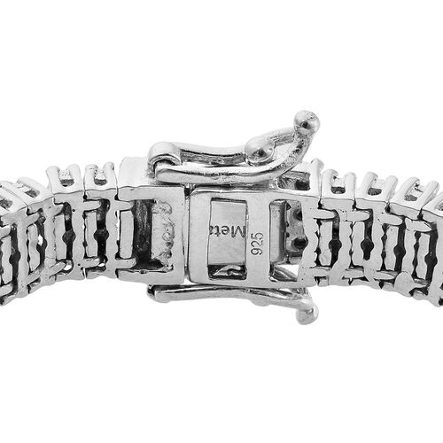 Diamond (Rnd) Bracelet (Size 7.5) in Platinum Overlay Sterling Silver 1.000 Ct., Silver wt 30.00 Gms. Number of Diamonds 165