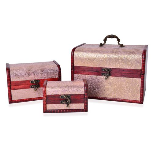 Set of 3 - Handcrafted Floral Embossed Light Pink Colour Vintage Style Jewellery Box (Small 12X7.5X7.5 Cm), (Medium 16X11X10.5 Cm) and (Large 22X16X15.5 Cm)