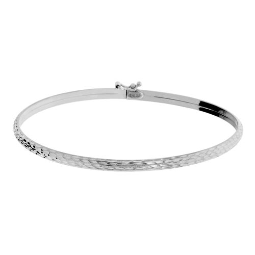 Vicenza Collection- Designer Inspired 9K White Gold Diamond Cut Bangle (Size 7)