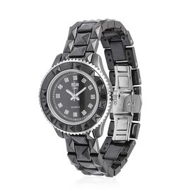EON Swiss Movement Diamond Studded MOP Dial 10ATM Water Resistant Watch in Silver Tone with Stainless Steel Back and Black Colour Ceramic Strap