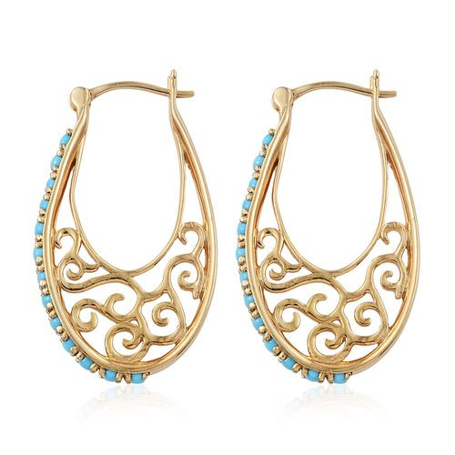 AA Arizona Sleeping Beauty Turquoise (Rnd) Filigree Hoop Earrings (with Clasp) in 14K Gold Overlay Sterling Silver 1.900 Ct.
