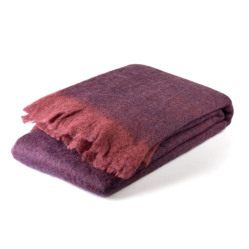 30% Mohair Wool Plum and Marsala Colour Throw with Fringes (Size 180X130 Cm)