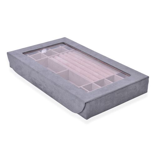 Rectangular Grey Colour Velvet Jewellery Box (Size 37.8X23X5 Cm)