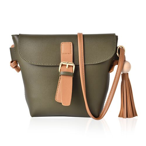Green and Dark Beige Colour Crossbody Bag with Tassels and Shoulder Strap (Size 24.5x19x15.5x6 Cm)