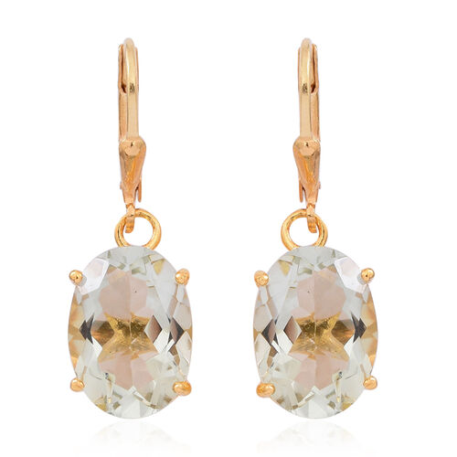 Green Amethyst (Ovl) Lever Back Earrings in 14K Gold Overlay Sterling Silver 10.000 Ct.