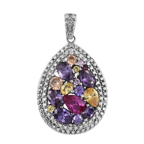 AAA Simulated Ruby (Pear), Simulated Amethyst, Simulated Tanzanite, Simulated Champagne Diamond, Simulated Pink Sapphire and Multi Gem Stone Pendant in ION Plated Platinum and Stainless Steel Bond
