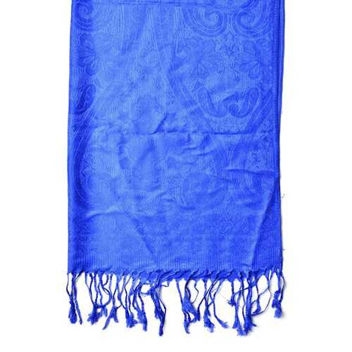 Blue Colour Knitted Bandana Pattern Scarf with Tassels (Size 170X70 Cm)