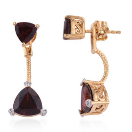 New York CloseOut-Mozambique Garnet (Trl), Natural Cambodian Zircon Jacket Earrings (with Push Back) in Yellow Gold Plated Sterling Silver 4.549 Ct.