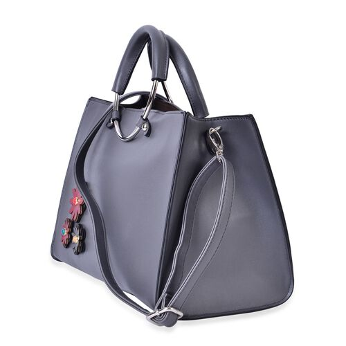 Multi Colour 3D Floral Pattern Grey Colour Tote Bag with Adjustable and Removable Shoulder Strap (Size 30x22x17 Cm)