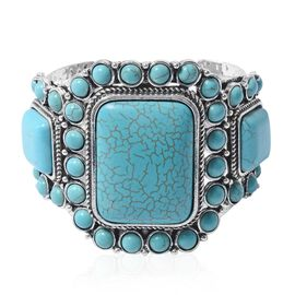 Cocktail Collection  - Blue Howlite Bangle (Size 7.5) in Silver Plated 200.000 Ct.