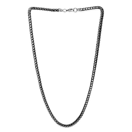 Close Out Deal ION Plated Black Stainless Steel Necklace (Size 24), Metal Wt 42.00 Gms.