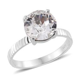 AAA White Austrian Crystal (Rnd 10mm) Solitaire Ring in Rhodium Plated Sterling Silver