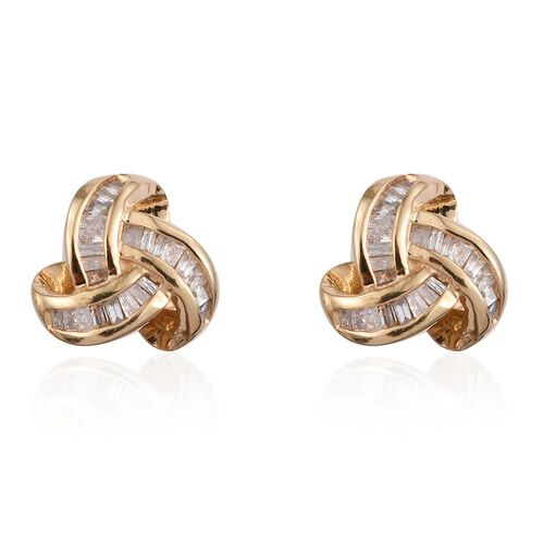 Diamond (Bgt) Triple Knot Stud Earrings (with Push Back) in 14K Gold Overlay Sterling Silver 0.25 Ct.