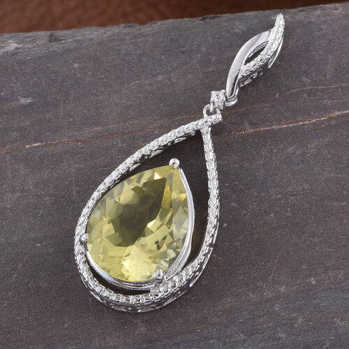 Natural Green Gold Quartz (Pear), Natural Cambodian Zircon Pendant in Platinum Overlay Sterling Silver 7.500 Ct.