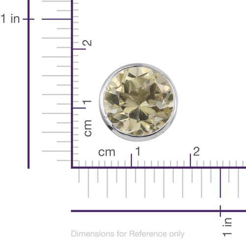 Brazilian Green Gold Quartz (Rnd) Stud Earrings (with Push Back) in Platinum Overlay Sterling Silver 3.500 Ct.