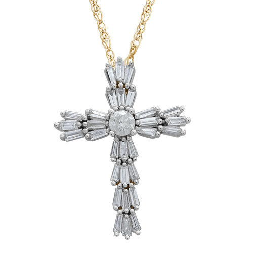 9K Yellow Gold SGL Certified Diamond (Rnd) (I3/G-H) Cross Pendant With Chain 0.500 Ct.