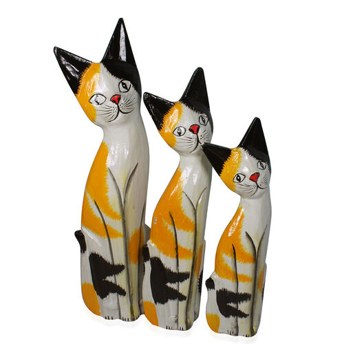 Bali Collection Home Decor - Set of 3 Black, Yellow and White Colour Hand Carved & Painted Softwood Cat (Size Large 35, Medium 30 and Small 26 Cm)