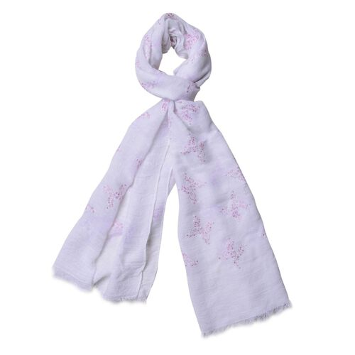 Pink and White Colour Butterfly Pattern White Colour Scarf (Size 180x70 Cm)