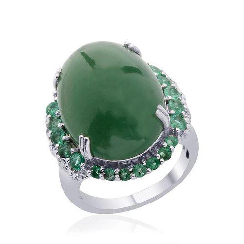 Emerald Quartz (Ovl 19.00 Ct), Kagem Zambian Emerald and Diamond Ring in Platinum Overlay Sterling Silver 20.010 Ct.