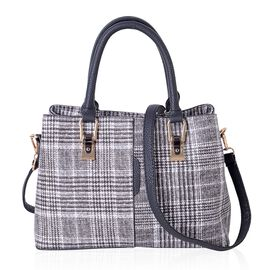 Black and White Colour Plaid Pattern Tote Bag with External Zipper Pocket and Removable Shoulder Strap (Size 31.5x21.5x12.5 Cm)
