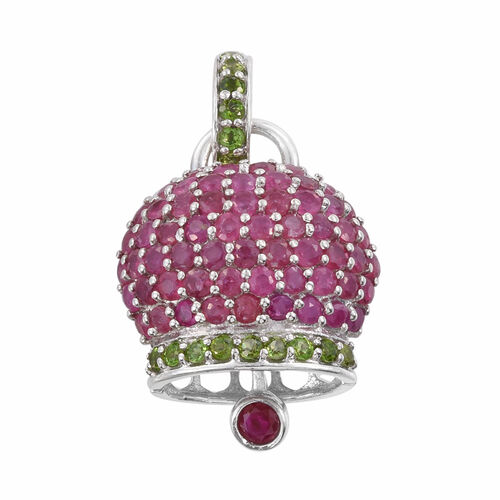 GP African Ruby (Rnd), Russian Diopside, Kanchanaburi Blue Sapphire Pendant in Platinum Overlay Sterling Silver 4.000 Ct.