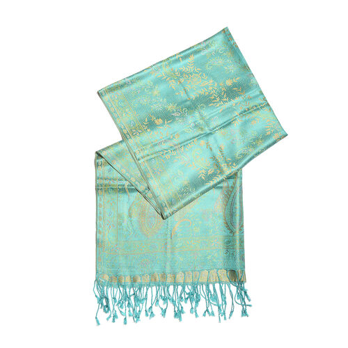 SILK MARK - 100% Superfine Silk Turquoise, Yellow and Multi Colour Flower, Leaves and Paisley Pattern Jacquard Jamawar Scarf with Tassels (Size 180x70 Cm) (Weight 125 - 140 Gms)