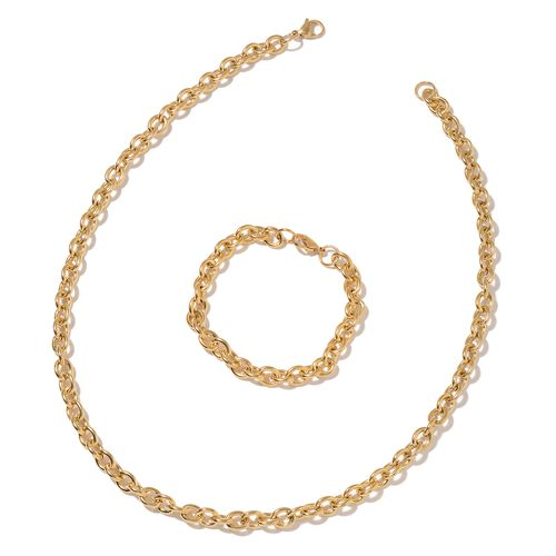 ION Plated Yellow Gold Stainless Steel Rolo Necklace (Size 22) and Bracelet (Size 8)