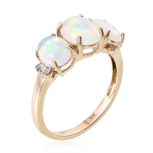 9K Y Gold Ethiopian Welo Opal (Ovl 1.20 Ct), Diamond Ring 2.750 Ct.