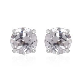 9K W Gold Natural Cambodian Zircon (Rnd) Stud Earrings (with Push Back) 1.000 Ct.