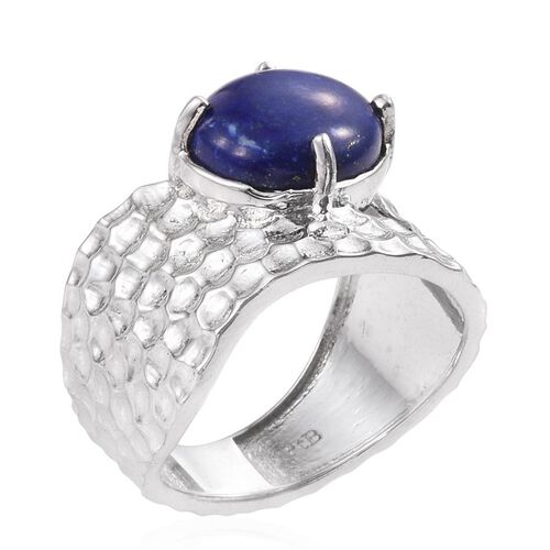 Lapis Lazuli (Ovl) Solitaire Ring in ION Plated Platinum Bond 2.500 Ct.